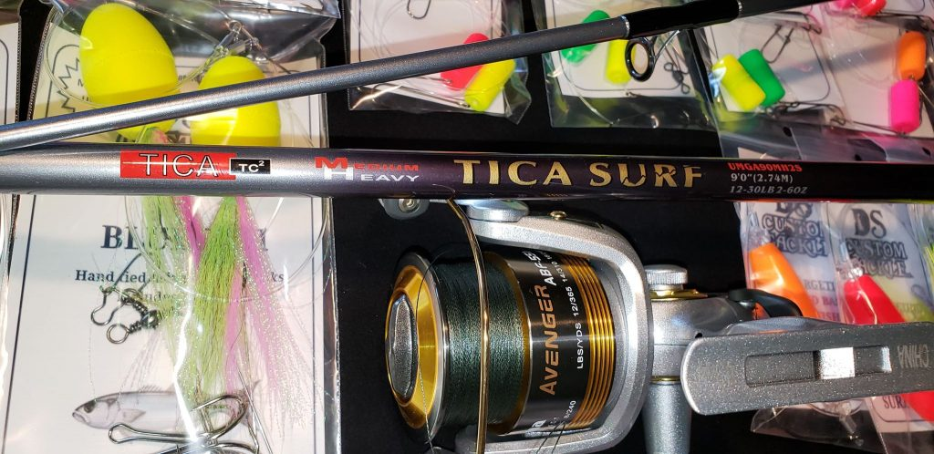 DS Custom Tackle, surf fishing package, frets 4 vets raffle, delaware, sussex county, tica rod,  okuma reel, surf fishing tackle, modified mullet rig
