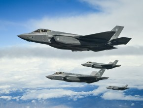 F-35A Joint Strike Fighters in formation