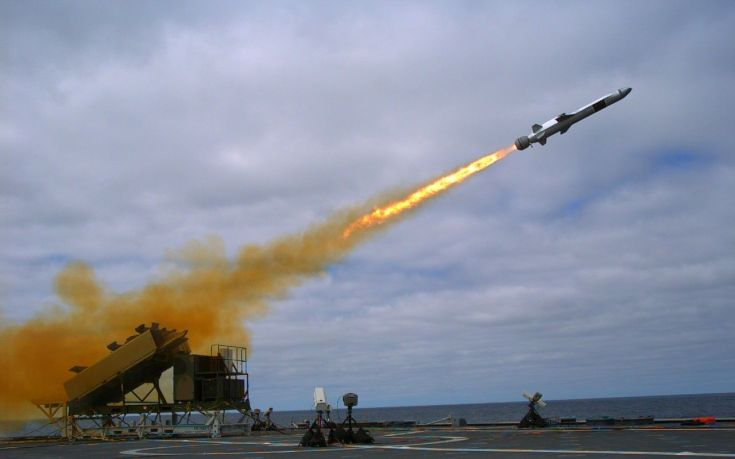 missile fired from the deck of a ship at sea