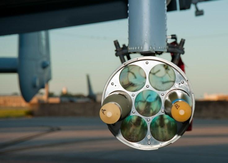 two rockets mounted in a rocket pod