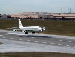 aircraft landing on a runway