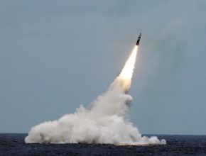 missile launched from beneath the ocean