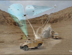 illustration of army vehicles shooting down drones
