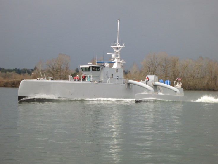 a small vessel undergoes testing in the water