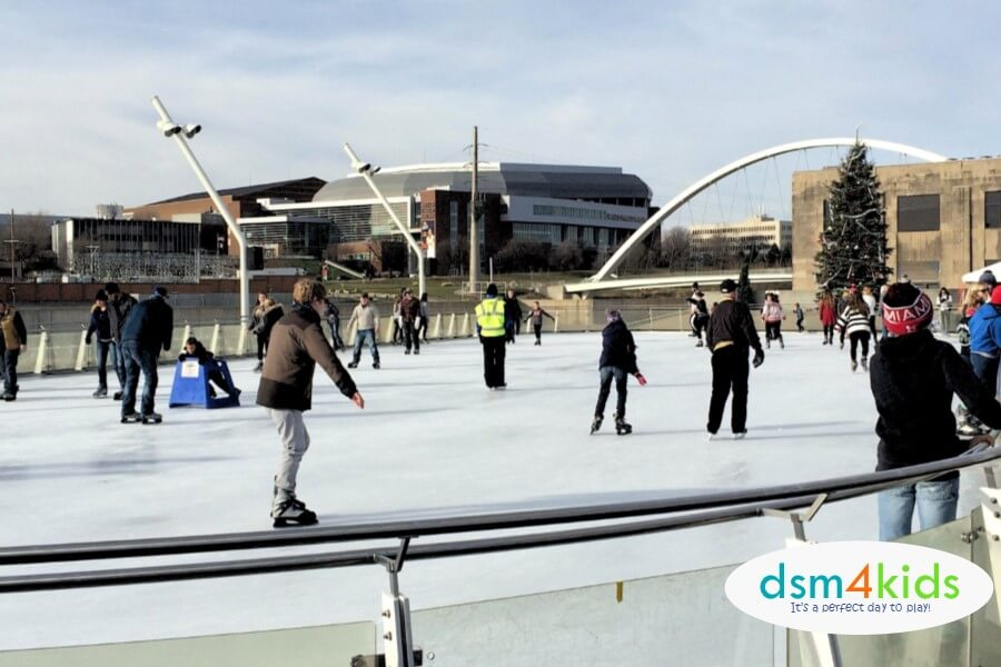 Take the Family Ice Skating at Brenton Skating Plaza this Winter in Des Moines