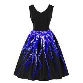 octupus blue dress