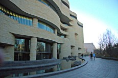 The exterior wall of the National Museum of the American Indian gently ripples, mimicking curves in nature.