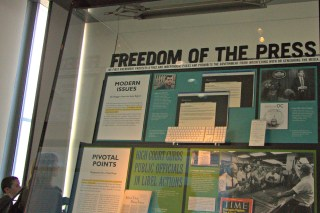 This exhibit explains to museum-goers the freedom of the press.