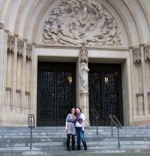 Alyssa and Lyndsey in front of the National Cathedral