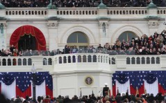 President Barak Obama is sworn in by Chief Justice John Roberts.