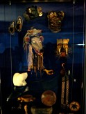 Many exhibits in the National Museum of the American Indian display artifacts such as these masks.