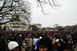 After the inaugural ceremony ended, people struggled through the crowds, some heading for the parade, while others tried to get home.