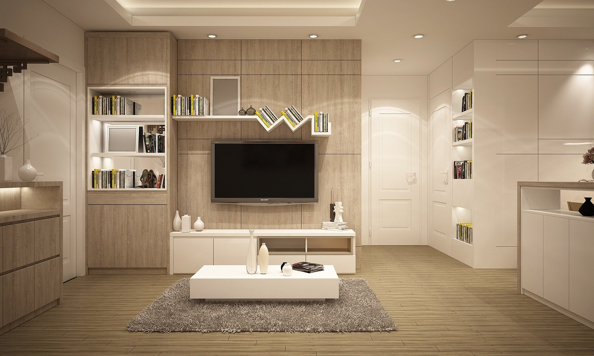 Sleek white modern apartment