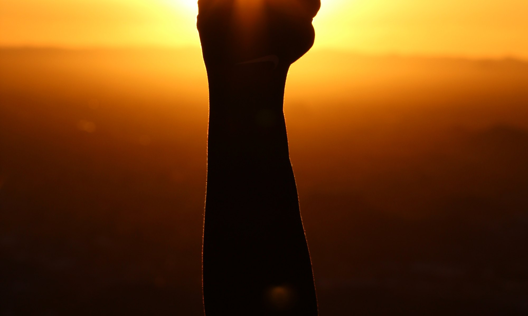 Fist pump directed towards the sunset after achieving your goals
