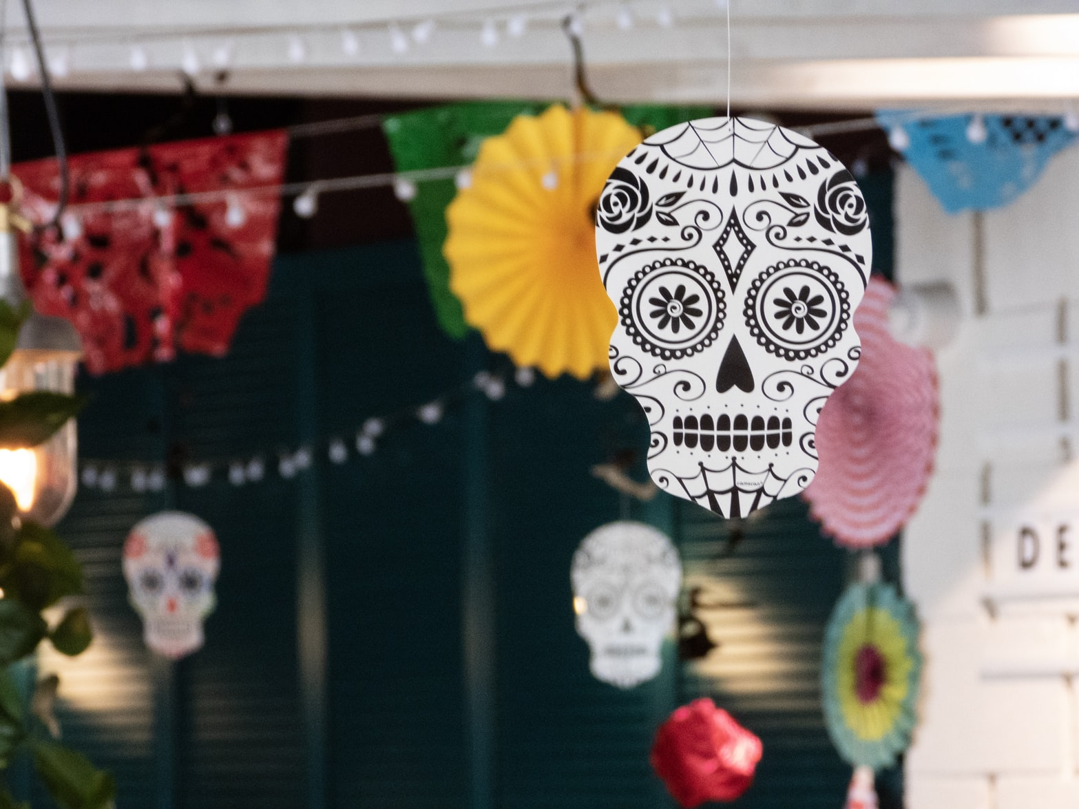 Assorted skull hangings and Halloween decors