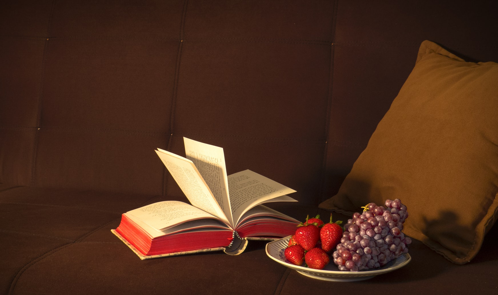 Strawberries and grapes on white plate next to open book on brown sofa