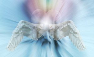 Being honest - white angel wings in front of rainbow heart