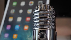 Mental health podcast - microphone next to iPhone