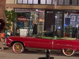Tampa vacation - old school red gangster convertible with gold rims