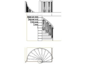 Cad drawing of a spiral staircase from several angles in