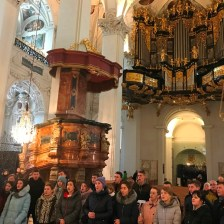 An improvised performance of Gaudeamus Student Choir in the Basilica of the Nativity of the Blessed Virgin Mary