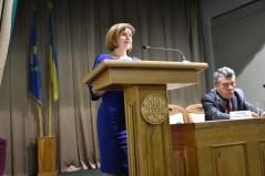 Вітальне слово виголошує Любомира Мандзій, директор департаменту освіти і науки Львівської облдержадміністрації