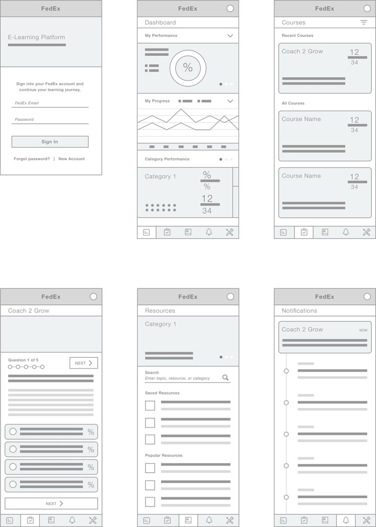portfolio - fedex mobile wireframes