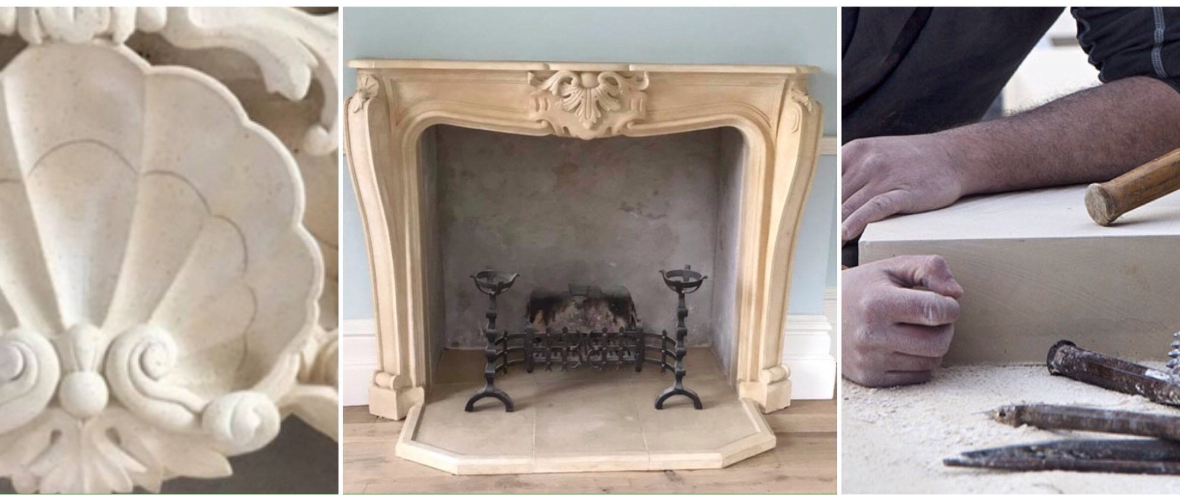 Lepine french lime stone fine grain carving sculpting fireplace