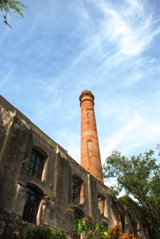 The smoke stack of the former sugar cane factory.