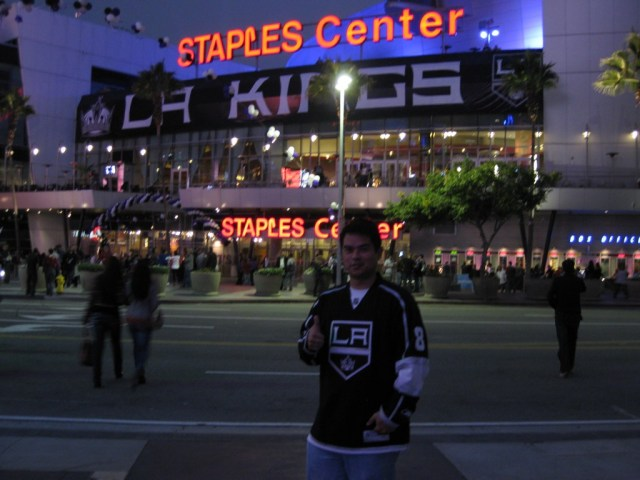 Staples Center before a Kings game - attending a game alone