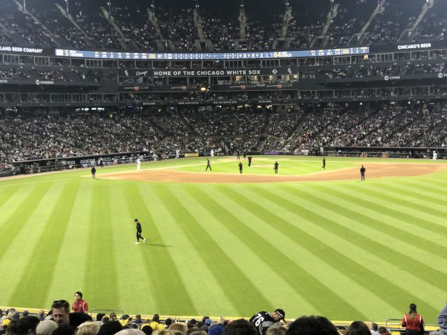 Guaranteed Rate Field outfield Chicago baseball doubleheader