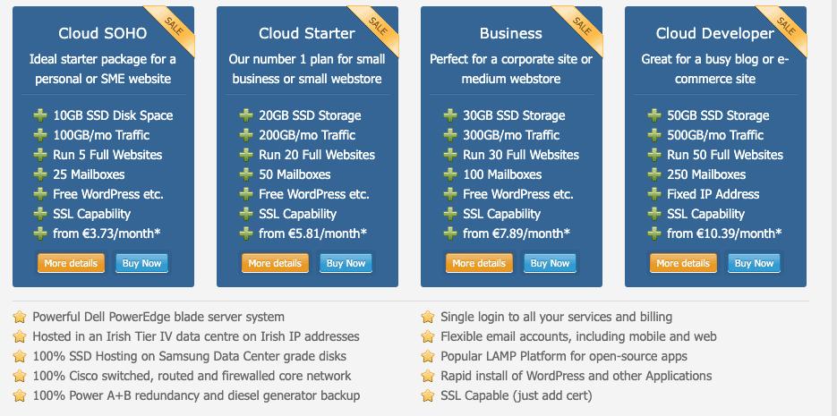 Screen capture of hosting plans at Irish Domains' website