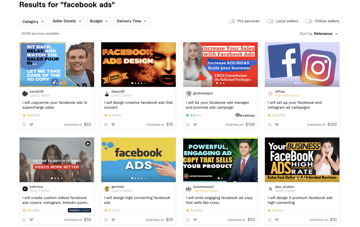 Fiverr Facebook Ads experts search