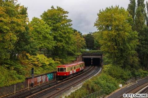 In Anlehnung an das erste Bild des Tages hier auch noch einmal der Hanseat, wie er aus dem Tunnel an der Lübecker Straße kommt.