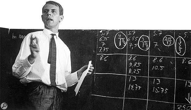 Karlheinz Stockhausen lectures on <em>Kontakte</em>, one of his most significant works, at the well–known summer school in Darmstadt, Germany, 1961.