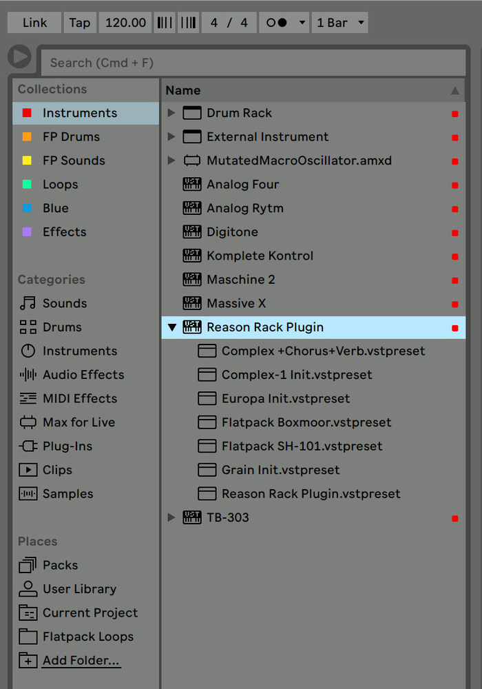 using reason plug in within ableton live
