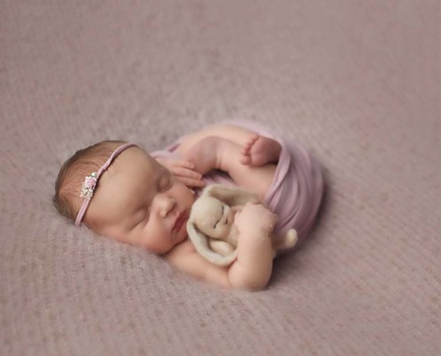 Newborn photographer for Renfrewshire, Paisley and Glasgow wrap in pink