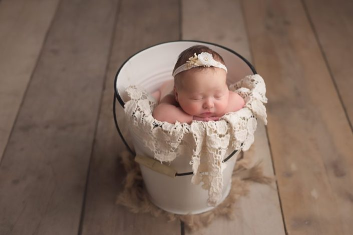 Baby Photo Shoot Glasgow - baby in cream bucket prop