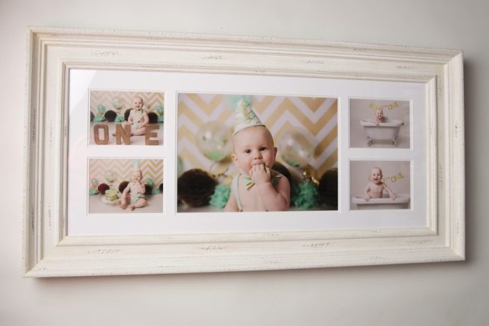 1st birthday cake smash glasgow - collage frame