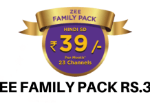 Zee Family Pack 39 Channel list & Price 2019 (Zee Value Pack 39)