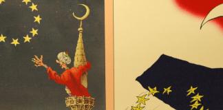 Eine Karikatur zeigt, wie ein Muezzin vergeblich nach den (EU-)Sternen greift.