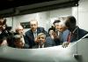 Türkischer Premier Recep Tayyip Erdogan, Staatspräsident Abdullah Gül (vorne-m), der japanische Premier Shinzo Abe(hinten-3.vR) und der Staatspräsident von Somalien Hassan Sheikh Mohamud (R) fahren einen Zug während der Eröffnungszeremonie des Marmaray Projekts.
