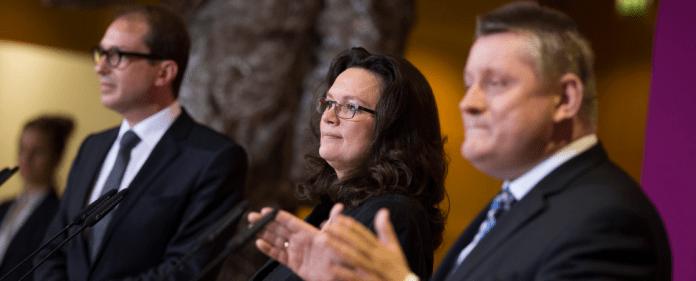 Alexander Dobrindt von der CSU, Andrea Nahles von der SPD und Hermann Gröhe von der CDU - reuters