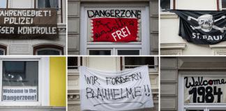 Eine Bildkombo zeigt am 09.01.2014 im Stadtteil St.Pauli in Hamburg verschiedene Protestplakate. Die Gefahrengebiete in Hamburg sind ab sofort aufgehoben teilte die Polizei am 13.01.2014 mit.