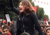 Tunesische Demonstranten während eines Protestzugs am Jahrestag der Revolution.