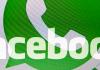 Die Logos die Logos von Facebook und WhatsApp sind am 19.02.2014 in Visselhövede (Niedersachsen) auf einem Monitor zu sehen (Aufnahme mit Doppelbelichtung).