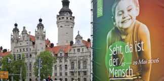 Plakat des 100. Deutschen Katholikentages in Leipzig