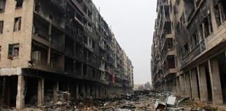 zerstörter Strassenzug in Aleppo