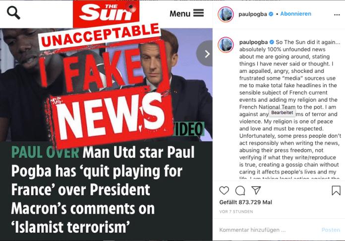 Pogba Rücktritt Nationalmannschaft Fake News.