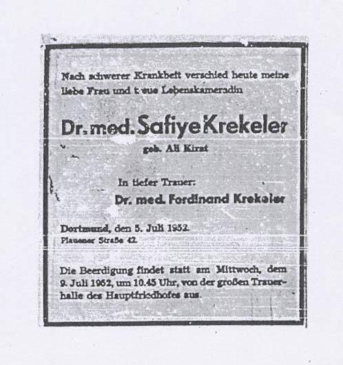 Todesanzeige Krekeler Safiye 1952-07-05
